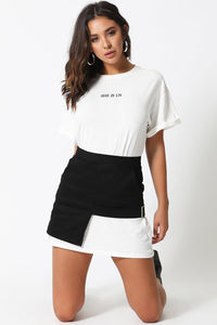 She T-Shirt Dress-White