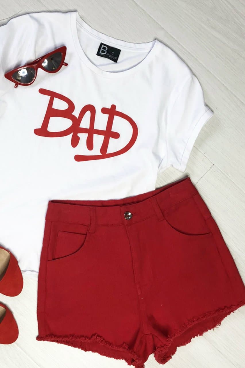 RADAR DENIM SHORTS - RED