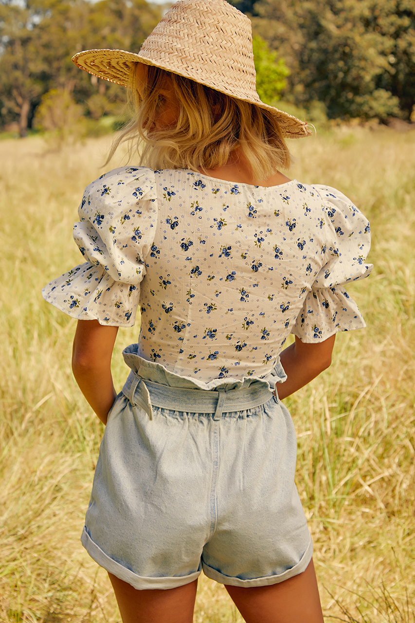 Amarle Top - Blue Floral