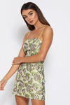 ELODIE MINI DRESS - GREEN JACQUARD