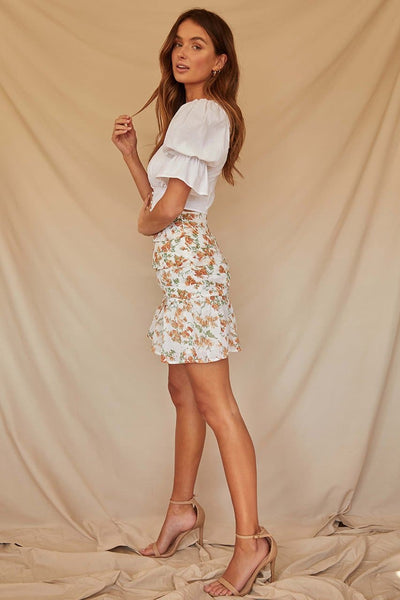 Marigold Mini Skirt-White