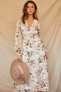 Halenne Dress-White Floral