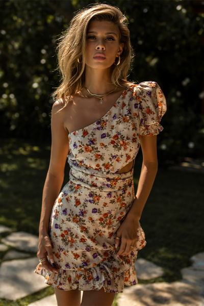Posy Mini Dress - Beige Floral