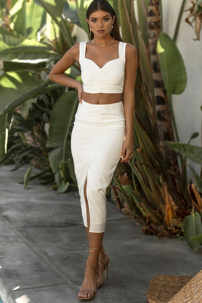 Quelle Midi Skirt - White