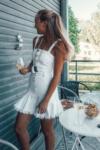ELECTRIC DENIM DRESS - WHITE