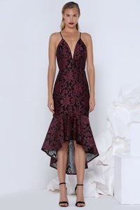 FLORICA COCKTAIL DRESS - WINE/BLACK
