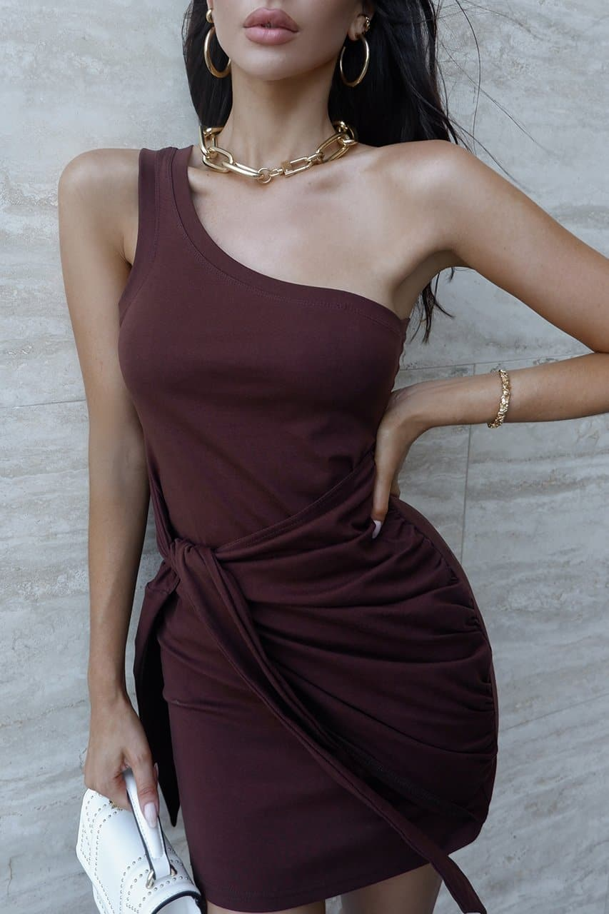 Adilla Mini Dress - Chocolate
