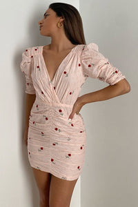 Amie Ruched Dress - Pink