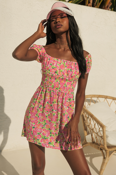 Asuka Mini Dress - Pink/Green Floral