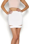 RAINE DENIM SKIRT - WHITE