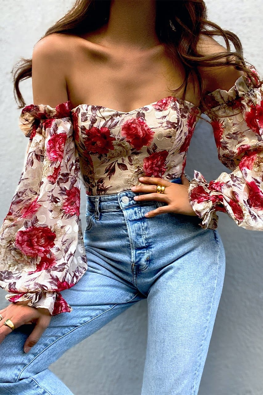 Florence Bodysuit - Berry Floral