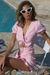 Bree Ruched Dress - Pink Check