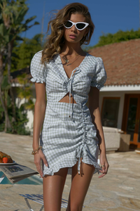 Bree Ruched Dress - Pistachio Check
