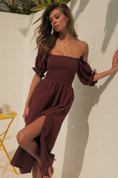 Brinley Midi Dress - Chocolate