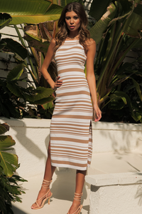 Cove Midi Dress - Tan/White
