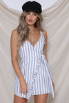 Candy Wrap Dress - Navy Stripe