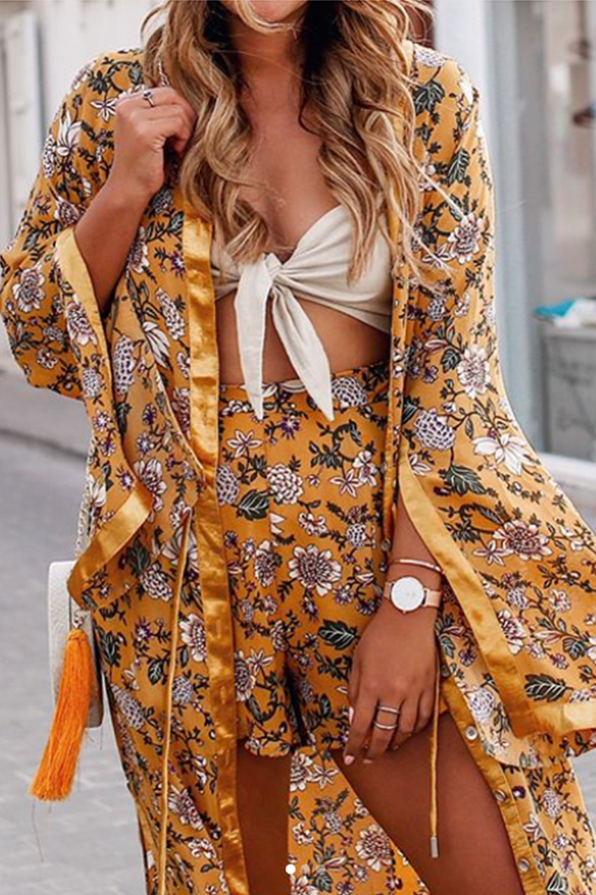 POPPY DUSTER DRESS - MUSTARD PRINT