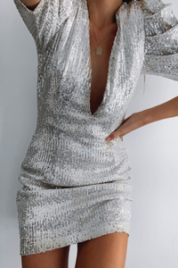 DISCO POUFFE MINI DRESS - SEQUIN