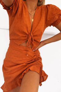 DITSY MINI DRESS - RUST