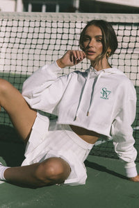 Logo Cropped Hoodie - White