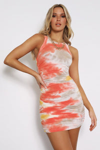 Eccentric Dress - Coral Tie Dye