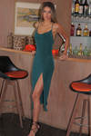 Slinky Slip Dress - Emerald