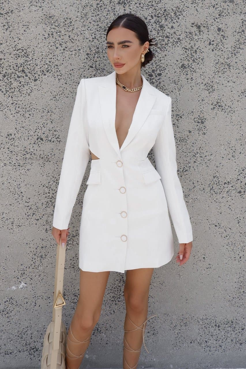 Erika Blazer Dress - White