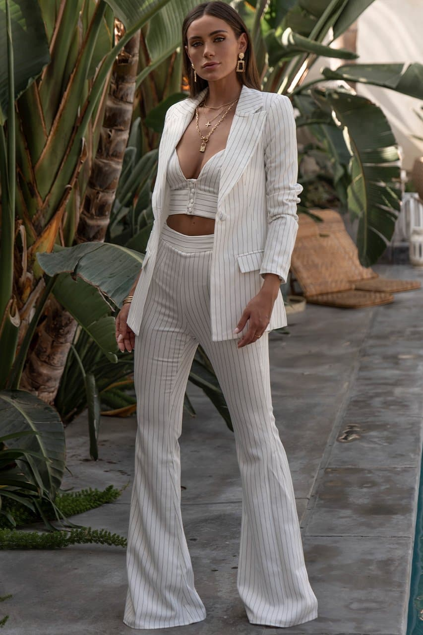 Every Woman Top - White Pinstripe