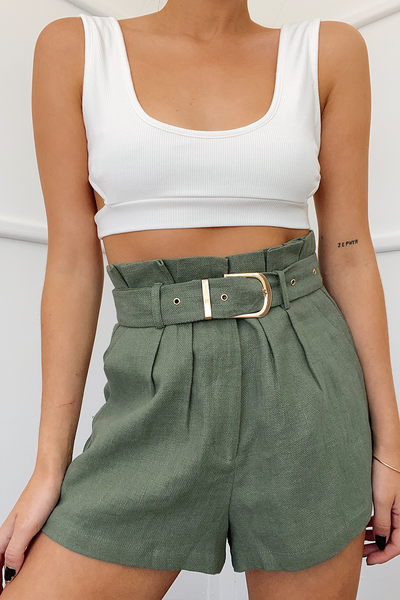 BELLE PAPERBAG SHORTS-SAGE