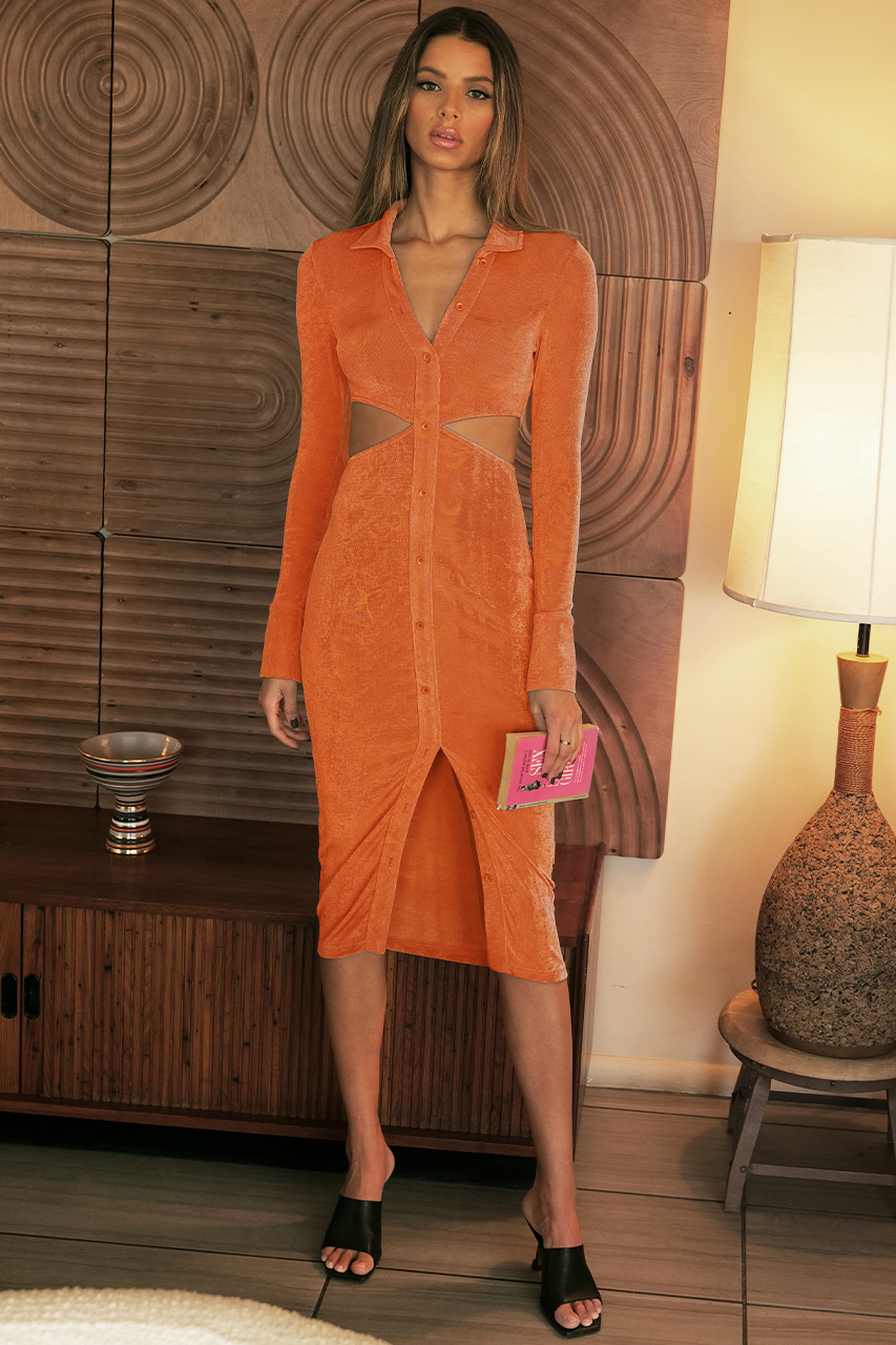 Giselle Midi Dress - Tangerine
