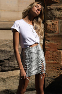 SNAKESKIN MINI SKIRT - GREY SNAKE