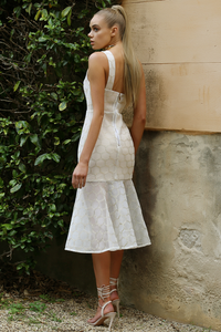HALCYON DRESS-WHITE/GOLD