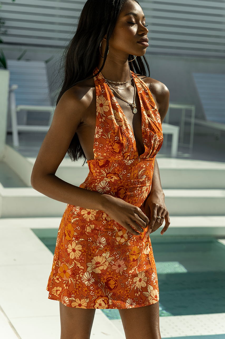 Holly Halter Dress - Rust Floral