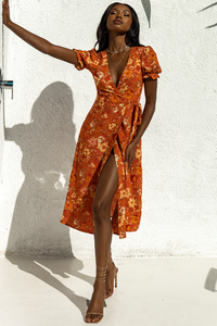 Holly Wrap Dress - Rust Floral