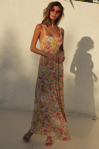 Holly Maxi Dress - Peach Floral