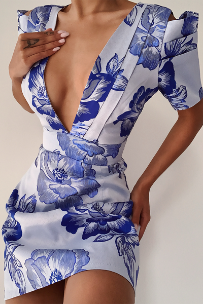 Harlow Dress - Blue Floral