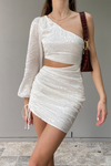 Alisa Draped Dress - White