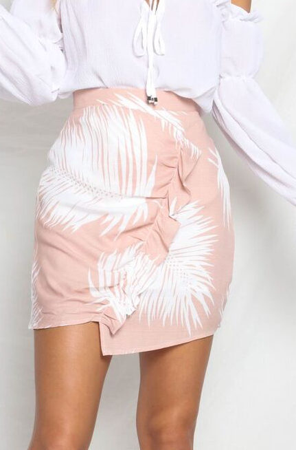 LOVE ISLAND MINI SKIRT - PINK/WHITE PALM