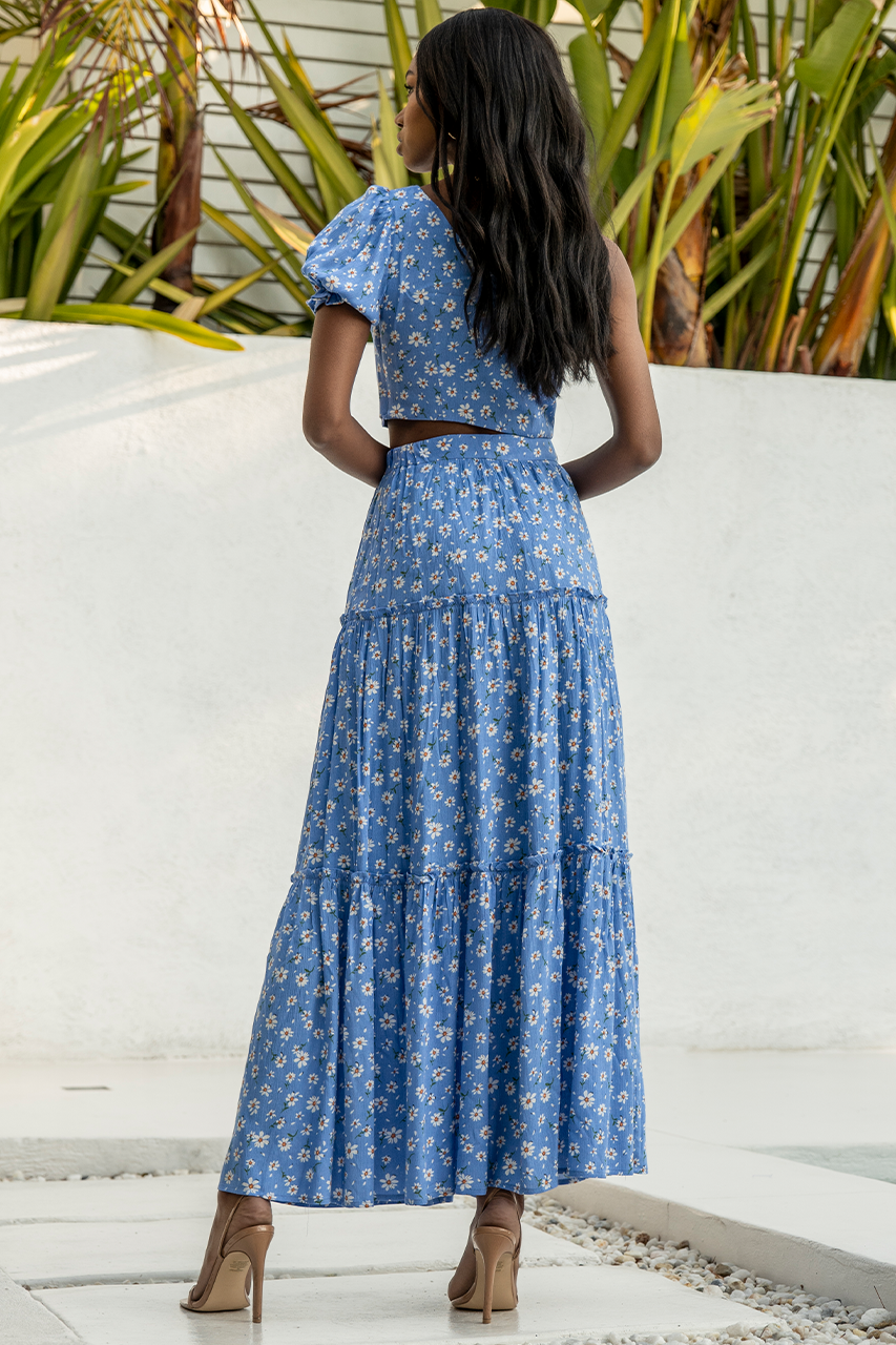 Meadow Maxi Skirt - Blue Floral