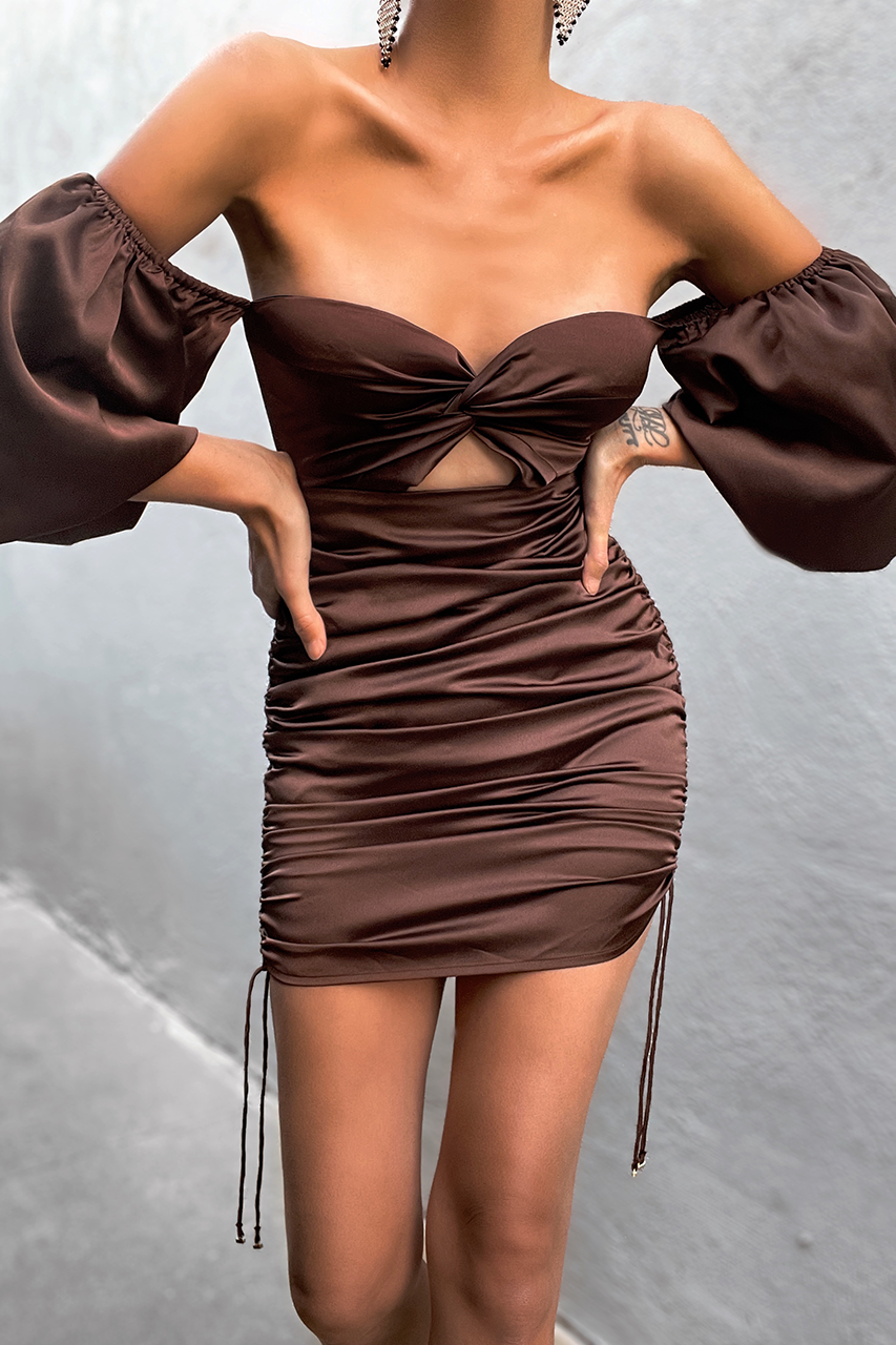 Pouffe Sleeve Mini Dress - Chocolate
