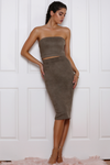 BROOKLYN MIDI SKIRT - KHAKI