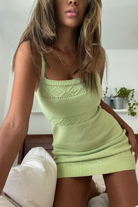 Rose Knit Dress- Pistachio