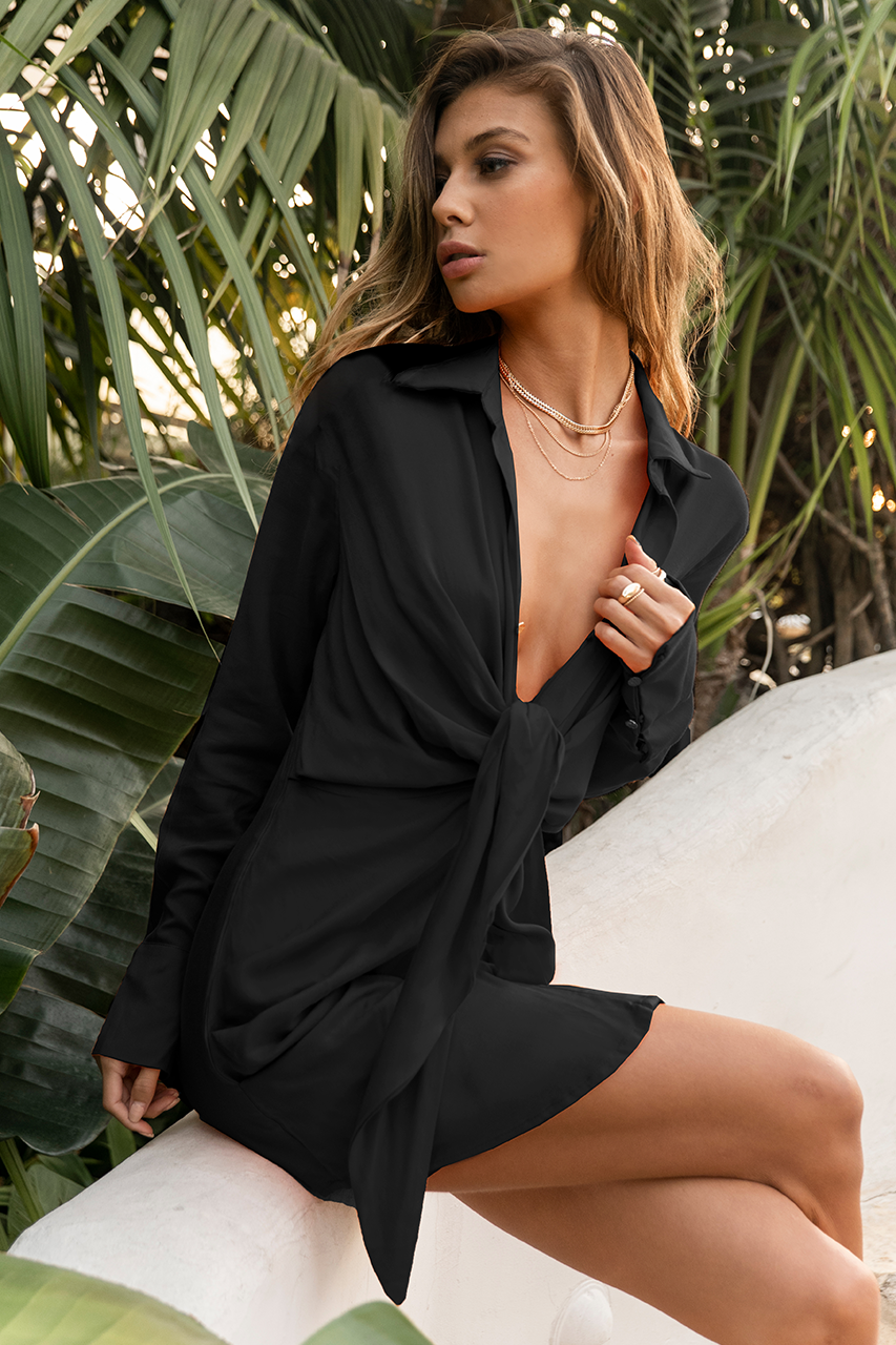 Rayon Ruby Shirt Dress - Black