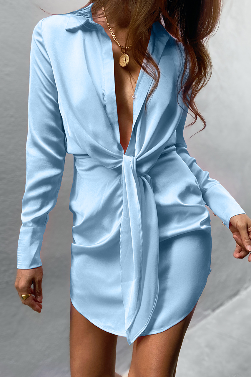 Ruby Shirt Dress - Sky Blue