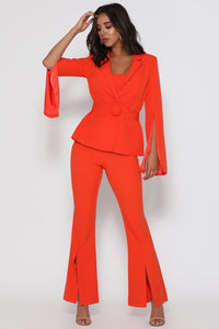 Scarlet Split Hem Trousers - Bright Red
