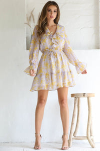 SERAPHINA LONGSLEEVE DRESS - LILAC/YELLOW PRINT
