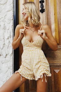 Skylar Playsuit - Yellow Gingham
