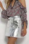 Stardust Vegan Leather Skirt - Silver