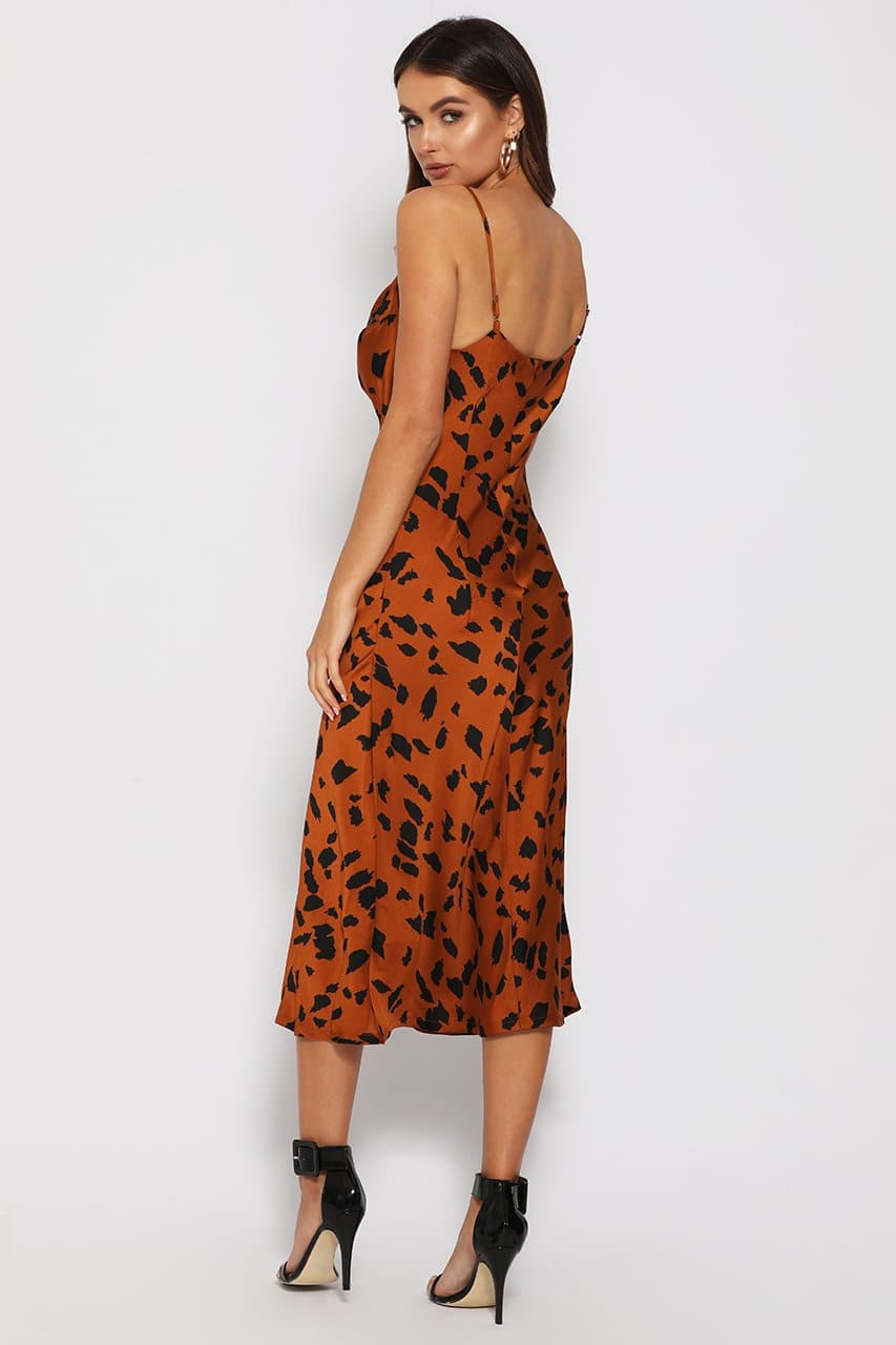FLINT SLIP DRESS - RUST