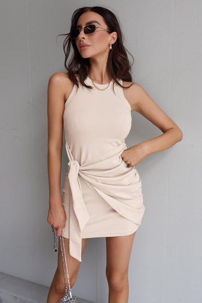 Tau Tie Dress - Sand